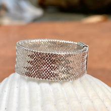 Load image into Gallery viewer, 14KT White Gold Open Weave Mesh Cigar Band Ring, 14KT White Gold Open Weave Mesh Cigar Band Ring - Legacy Saint Jewelry