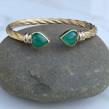 Load image into Gallery viewer, Estate 14KT Yellow Gold + White Gold Green Onyx End Caps Cuff Bangle Bracelet, Estate 14KT Yellow Gold + White Gold Green Onyx End Caps Cuff Bangle Bracelet - Legacy Saint Jewelry