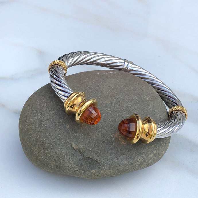 Estate 14KT White Gold + Yellow Gold Checkerboard Golden Citrine Bangle Bracelet - Legacy Saint Jewelry