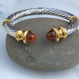 Estate 14KT White Gold + Yellow Gold Checkerboard Golden Citrine Bangle Bracelet, Estate 14KT White Gold + Yellow Gold Checkerboard Golden Citrine Bangle Bracelet - Legacy Saint Jewelry
