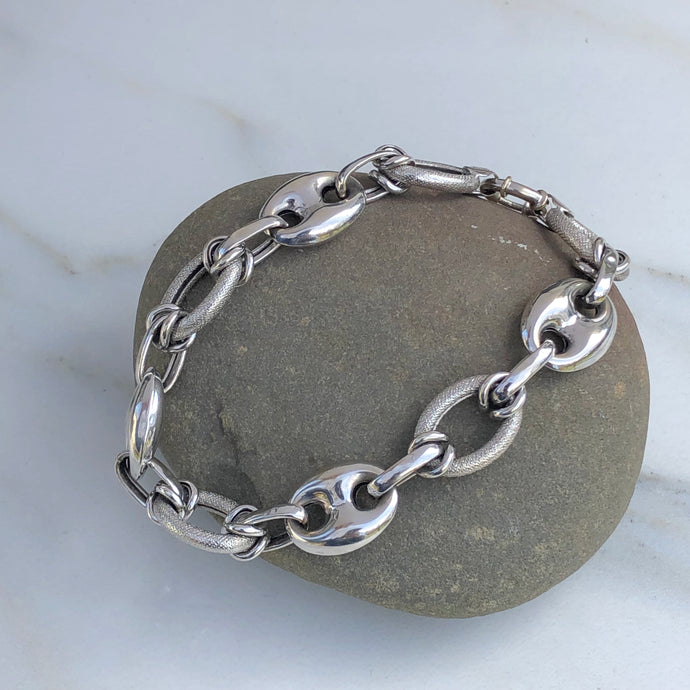 Estate 10KT White Gold Open Textured + Polished Mariner Gucci Connect Links Bracelet - Legacy Saint Jewelry