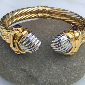 14KT White Gold + Yellow Gold Polished Amethyst Bangle Estate Bracelet, 14KT White Gold + Yellow Gold Polished Amethyst Bangle Estate Bracelet - Legacy Saint Jewelry