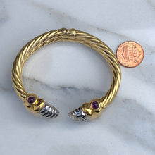 Load image into Gallery viewer, 14KT White Gold + Yellow Gold Polished Amethyst Bangle Estate Bracelet, 14KT White Gold + Yellow Gold Polished Amethyst Bangle Estate Bracelet - Legacy Saint Jewelry