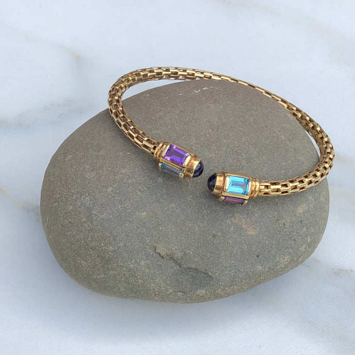 Estate 14KT Yellow Gold Multi Gemstone End Caps Cuff Bangle Bracelet, Estate 14KT Yellow Gold Multi Gemstone End Caps Cuff Bangle Bracelet - Legacy Saint Jewelry