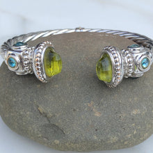 Load image into Gallery viewer, Estate 14KT White Gold Polished Peridot End Caps + Blue Topaz Bangle Bracelet - Legacy Saint Jewelry