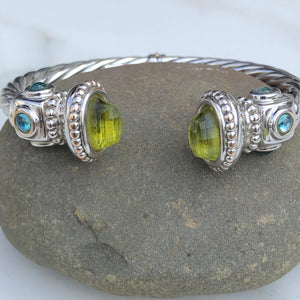 Estate 14KT White Gold Polished Peridot End Caps + Blue Topaz Bangle Bracelet - Legacy Saint Jewelry