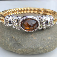 Load image into Gallery viewer, Estate 14KT Yellow Gold Cable Style + White Gold Checkerboard Citrine Bracelet, Estate 14KT Yellow Gold Cable Style + White Gold Checkerboard Citrine Bracelet - Legacy Saint Jewelry
