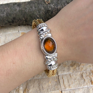 Estate 14KT Yellow Gold Cable Style + White Gold Checkerboard Citrine Bracelet, Estate 14KT Yellow Gold Cable Style + White Gold Checkerboard Citrine Bracelet - Legacy Saint Jewelry
