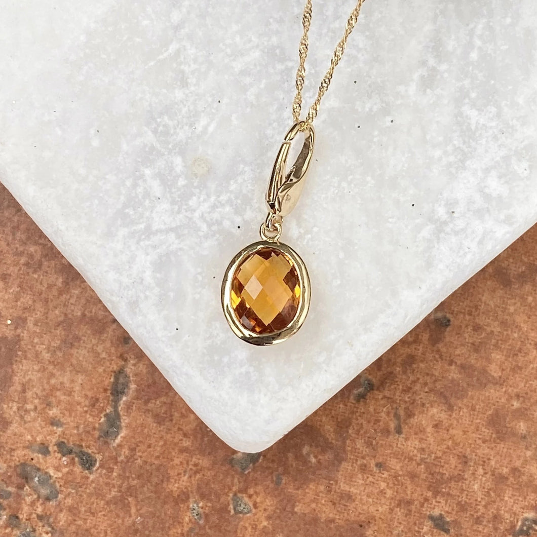 14KT Yellow Gold Checkerboard Citrine Omega Pendant Slide, 14KT Yellow Gold Checkerboard Citrine Omega Pendant Slide - Legacy Saint Jewelry