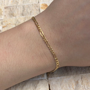 "14KT Yellow Gold Figaro Link Bracelet 10"", 14KT Yellow Gold Figaro Link Bracelet 10"" - Legacy Saint Jewelry"