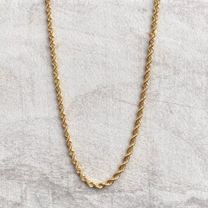 "10KT Yellow Gold Diamond-Cut Hollow Rope Chain Necklace 20""/ 2.9mm, 10KT Yellow Gold Diamond-Cut Hollow Rope Chain Necklace 20""/ 2.9mm - Legacy Saint Jewelry"