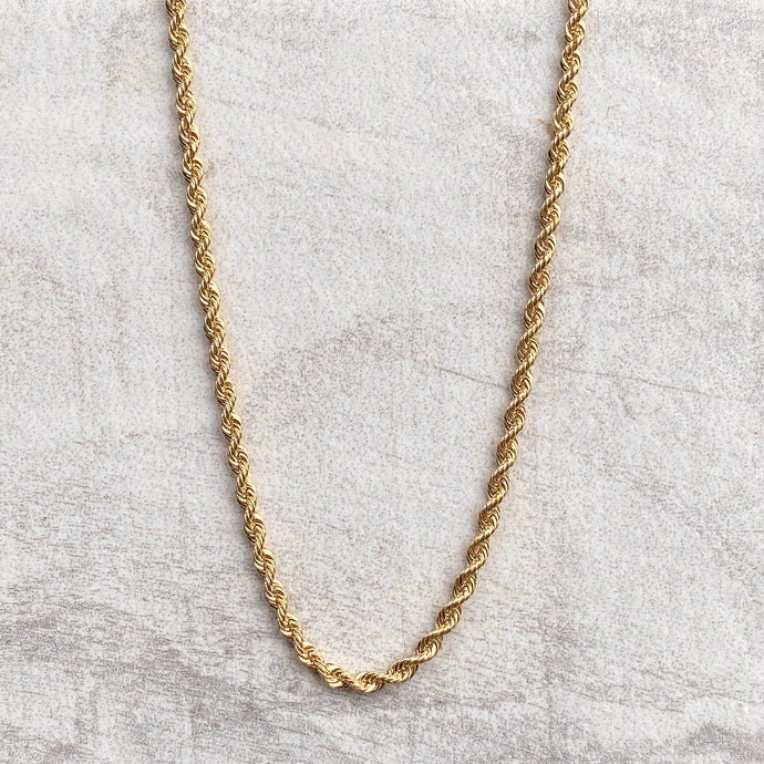 10KT Yellow Gold Diamond-Cut Hollow Rope Chain Necklace 20