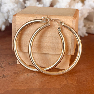 Estate 14KT Yellow Gold Polished 3mm Tube Hoop Earrings 40mm