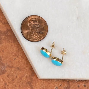 14KT Yellow Gold Oval Bezel Turquoise Stud Earrings, 14KT Yellow Gold Oval Bezel Turquoise Stud Earrings - Legacy Saint Jewelry