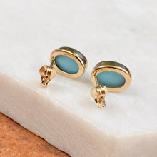 Load image into Gallery viewer, 14KT Yellow Gold Oval Bezel Turquoise Stud Earrings, 14KT Yellow Gold Oval Bezel Turquoise Stud Earrings - Legacy Saint Jewelry