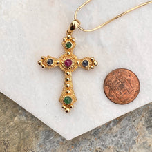 Load image into Gallery viewer, Estate 14KT Yellow Gold Gemstones Etruscan Cross Pendant Charm, Estate 14KT Yellow Gold Gemstones Etruscan Cross Pendant Charm - Legacy Saint Jewelry