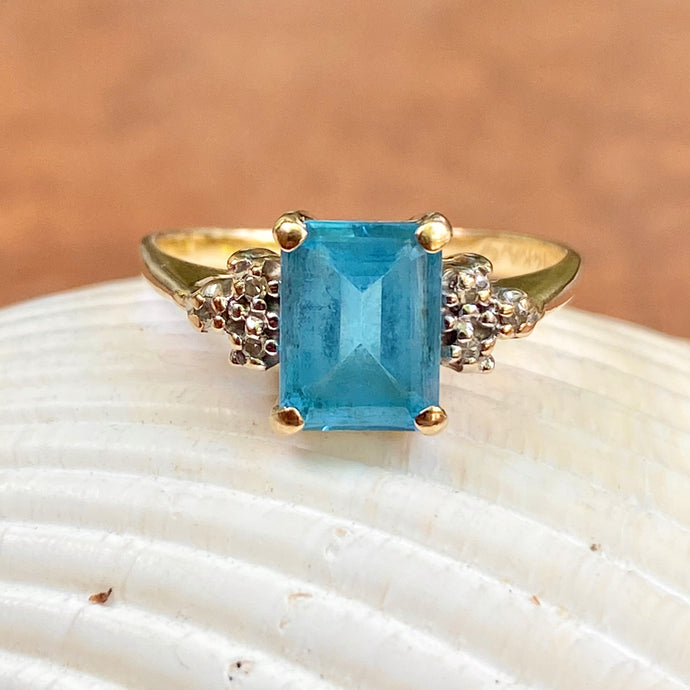 Estate Alwand Vahan 14KT Yellow Gold Emerald-Cut Blue Topaz + Diamond Accent Ring, Estate Alwand Vahan 14KT Yellow Gold Emerald-Cut Blue Topaz + Diamond Accent Ring - Legacy Saint Jewelry