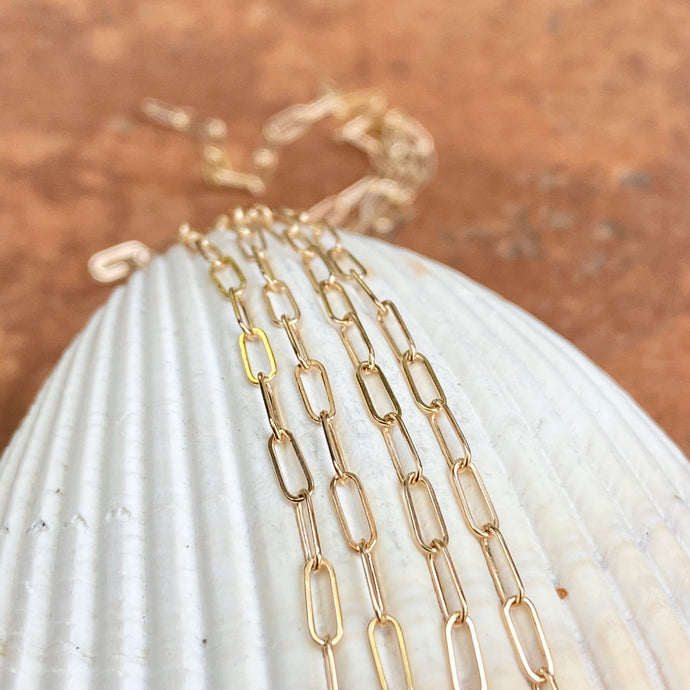 14KT Yellow Gold Polished Open Paper Clip Chain Link Necklace 1.8mm, 14KT Yellow Gold Polished Open Paper Clip Chain Link Necklace 1.8mm - Legacy Saint Jewelry