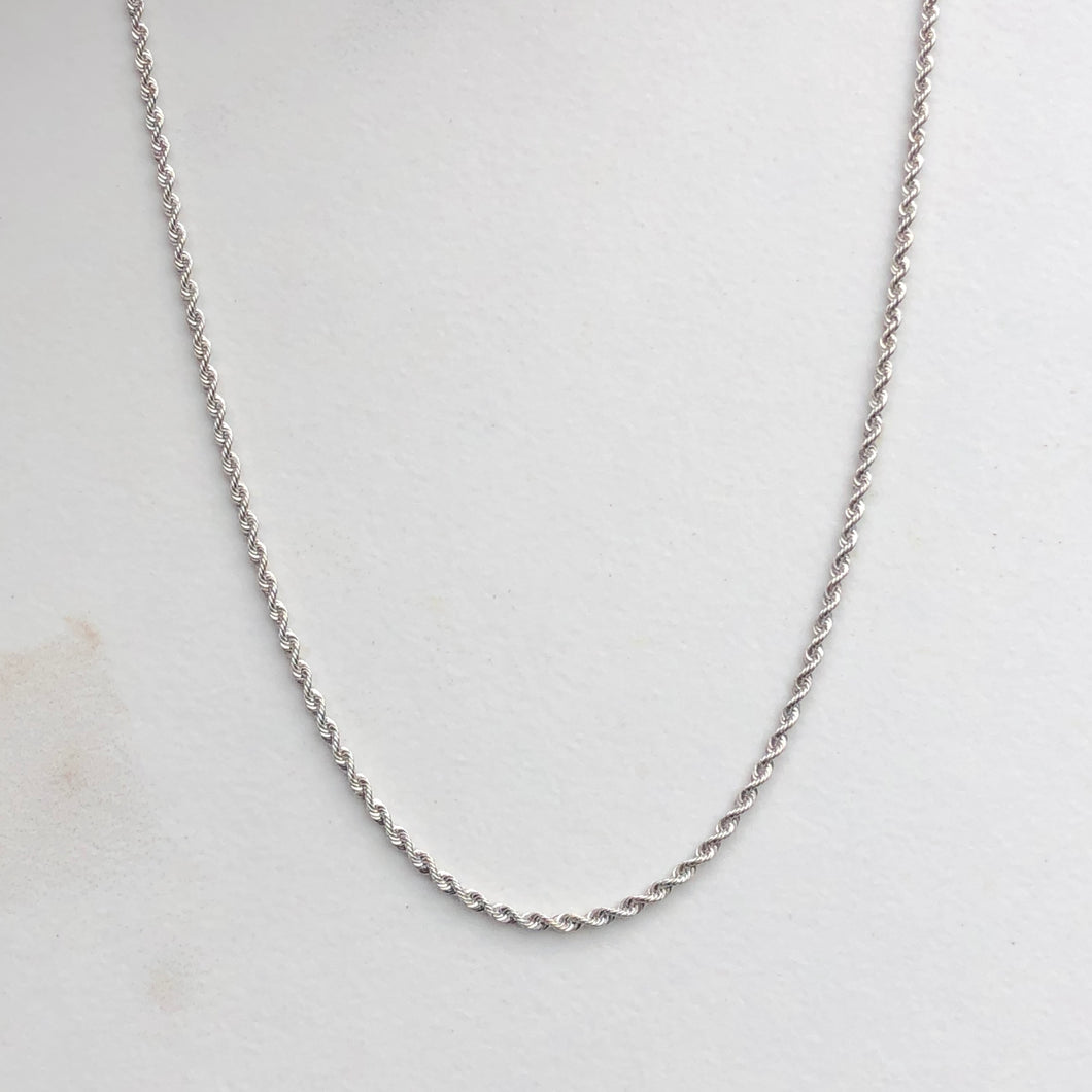 10KT White Gold Diamond-Cut Rope Chain Necklace 16