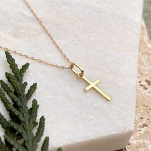 14KT Yellow Gold Mini Cross Charm Necklace, 14KT Yellow Gold Mini Cross Charm Necklace - Legacy Saint Jewelry