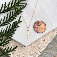 Load image into Gallery viewer, 14KT Yellow Gold Mini Cross Charm Necklace, 14KT Yellow Gold Mini Cross Charm Necklace - Legacy Saint Jewelry