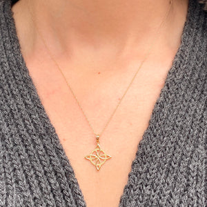 14KT Yellow Gold Celtic Eternity Knot Chain Necklace, 14KT Yellow Gold Celtic Eternity Knot Chain Necklace - Legacy Saint Jewelry