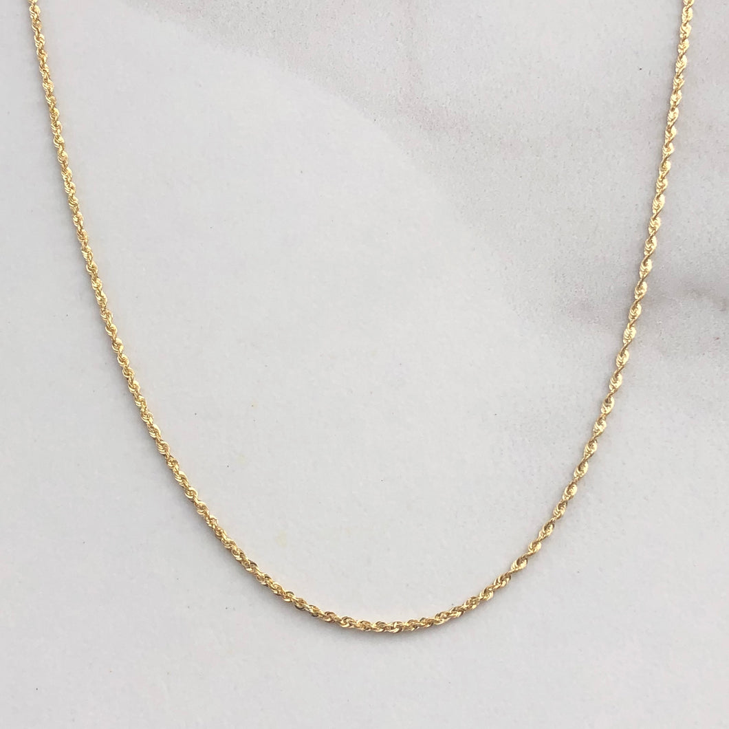 10KT Yellow Gold Rope Chain Necklace 30