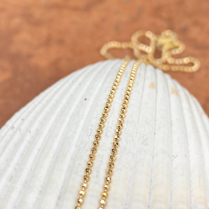 14KT Yellow Gold Diamond-Cut Beaded Ball Link Chain Necklace .75mm/ 16