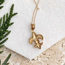 Load image into Gallery viewer, 14KT Yellow Gold Polished Fleur de Lis Necklace, 14KT Yellow Gold Polished Fleur de Lis Necklace - Legacy Saint Jewelry