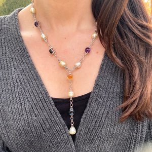 14KT White Gold Paspaley Pearl, Citrine, Amethyst + Blue Topaz Station Lariat Necklace, 14KT White Gold Paspaley Pearl, Citrine, Amethyst + Blue Topaz Station Lariat Necklace - Legacy Saint Jewelry