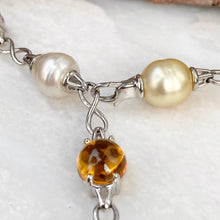 Load image into Gallery viewer, 14KT White Gold Paspaley Pearl, Citrine, Amethyst + Blue Topaz Station Lariat Necklace, 14KT White Gold Paspaley Pearl, Citrine, Amethyst + Blue Topaz Station Lariat Necklace - Legacy Saint Jewelry
