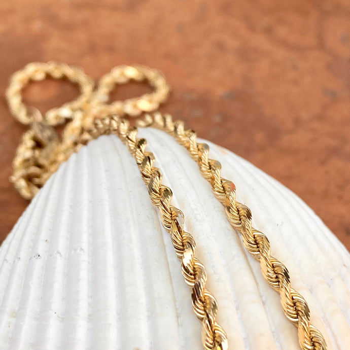 Estate 14KT Yellow Gold Diamond-Cut Silk Rope Chain Necklace 2.5mm/ 18