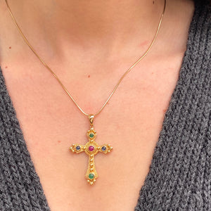 Estate 14KT Yellow Gold Gemstones Etruscan Cross Pendant Charm, Estate 14KT Yellow Gold Gemstones Etruscan Cross Pendant Charm - Legacy Saint Jewelry