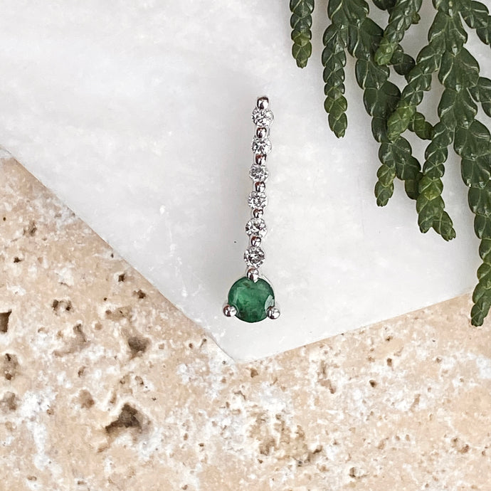 Estate 14KT White Gold Diamond + Emerald Drop Pendant, Estate 14KT White Gold Diamond + Emerald Drop Pendant - Legacy Saint Jewelry