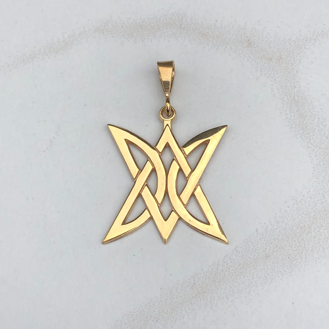 14KT Yellow Gold Celtic Trinity Triangle Pendant Charm, 14KT Yellow Gold Celtic Trinity Triangle Pendant Charm - Legacy Saint Jewelry