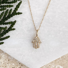 "Load image into Gallery viewer, 14KT Yellow Gold Pave Diamond ""Hand of Fatima"" Hamsa Pendant Charm, 14KT Yellow Gold Pave Diamond ""Hand of Fatima"" Hamsa Pendant Charm - Legacy Saint Jewelry"
