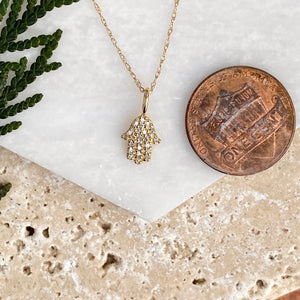 "Estate 14KT Yellow Gold Pave Diamond ""Hand of Fatima"" Hamsa Pendant Charm, Estate 14KT Yellow Gold Pave Diamond ""Hand of Fatima"" Hamsa Pendant Charm - Legacy Saint Jewelry"