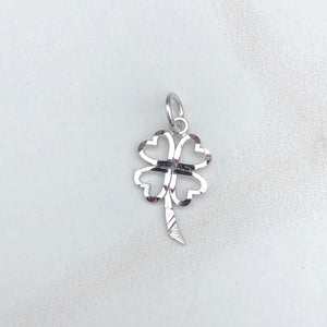 10KT White Gold Diamond-Cut 4-Leaf Clover Pendant Charm, 10KT White Gold Diamond-Cut 4-Leaf Clover Pendant Charm - Legacy Saint Jewelry