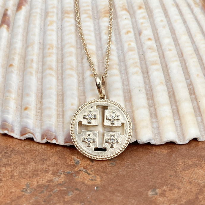 14KT Yellow Gold Jerusalem Cross .025 CT Diamond Medal Pendant Necklace