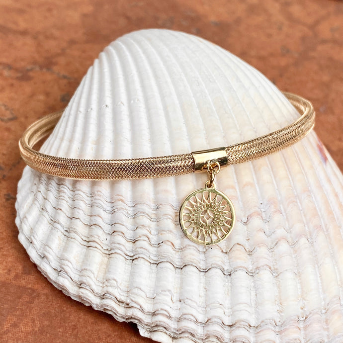 14KT Yellow Gold Stretch Mesh Bracelet with Sun Charm