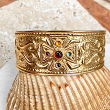 Load image into Gallery viewer, Estate 14KT Yellow Gold Etruscan Gemstones Cross Cuff Bracelet, Estate 14KT Yellow Gold Etruscan Gemstones Cross Cuff Bracelet - Legacy Saint Jewelry