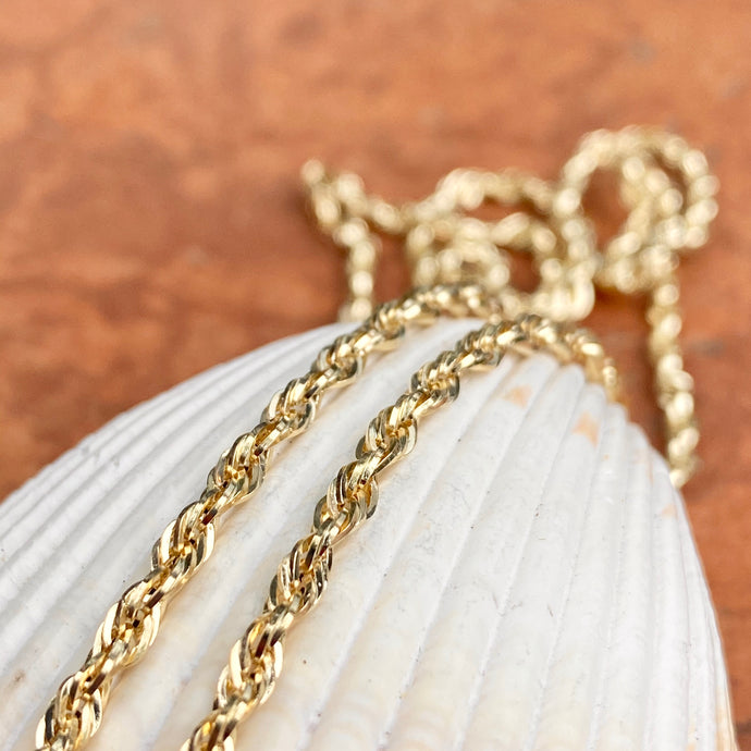14KT Yellow Gold Semi-Solid Rope Chain Necklace 2.8mm