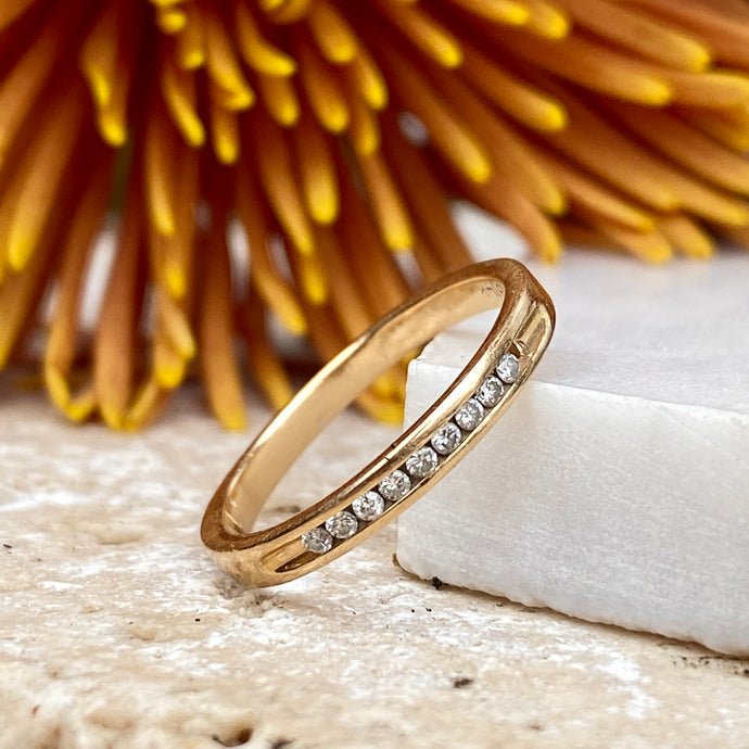 Estate 14KT Yellow Gold Diamond Thin Band Ring, Estate 14KT Yellow Gold Diamond Thin Band Ring - Legacy Saint Jewelry