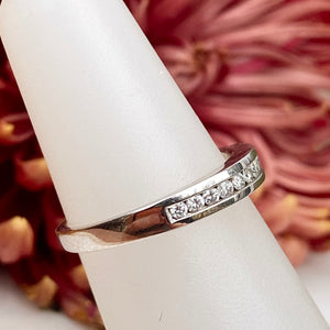 Estate 14KT White Gold Diamond Thin Band Ring, Estate 14KT White Gold Diamond Thin Band Ring - Legacy Saint Jewelry