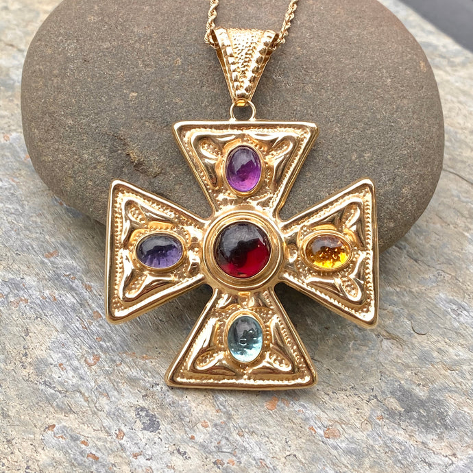 Estate 14KT Yellow Gold Etruscan Gemstone Cross Pendant, Estate 14KT Yellow Gold Etruscan Gemstone Cross Pendant - Legacy Saint Jewelry