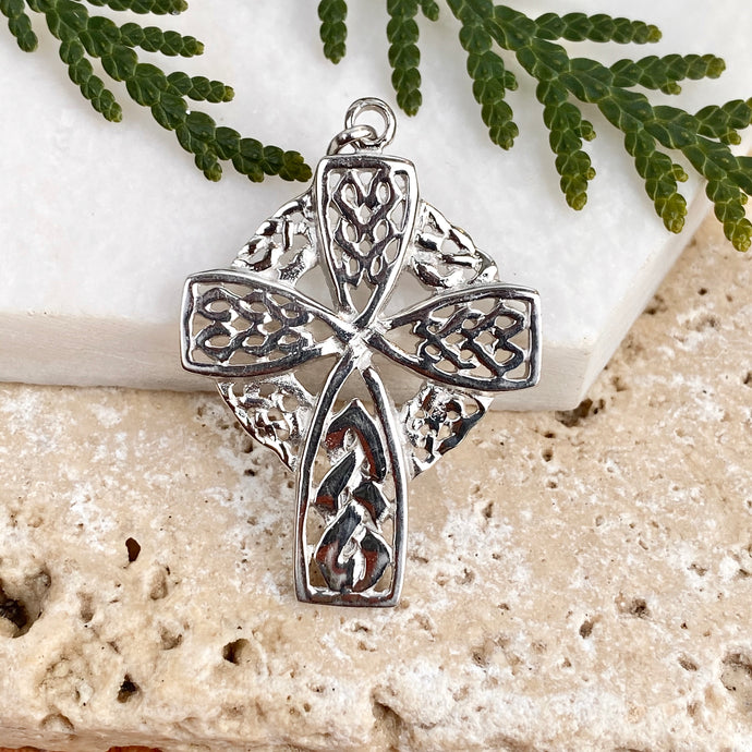 Sterling Silver Celtic Cross Pendant Charm, Sterling Silver Celtic Cross Pendant Charm - Legacy Saint Jewelry