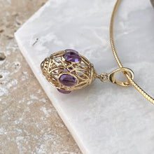 Load image into Gallery viewer, 14KT Yellow Gold Filigree Amethyst Teardrop Omega Pendant Clip, 14KT Yellow Gold Filigree Amethyst Teardrop Omega Pendant Clip - Legacy Saint Jewelry