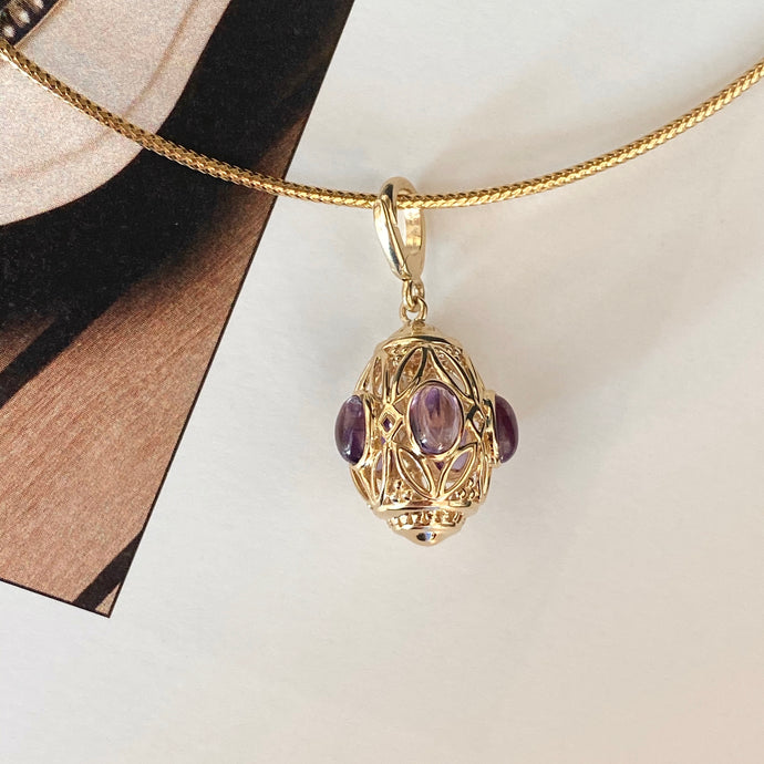 14KT Yellow Gold Filigree Amethyst Teardrop Omega Pendant Clip, 14KT Yellow Gold Filigree Amethyst Teardrop Omega Pendant Clip - Legacy Saint Jewelry