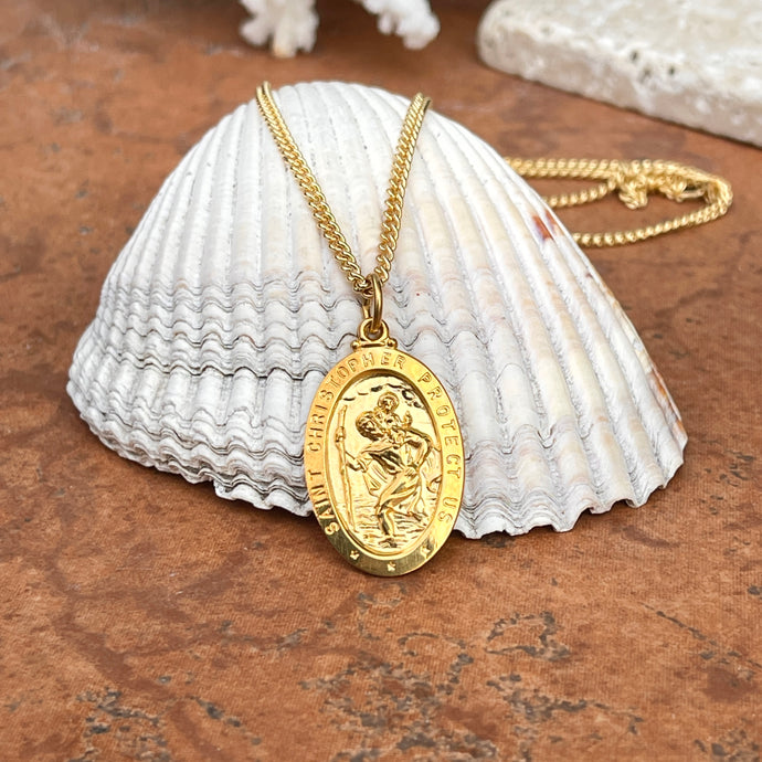 24KT Yellow Gold Plated Oval Saint Christopher Medal Chain Necklace 24