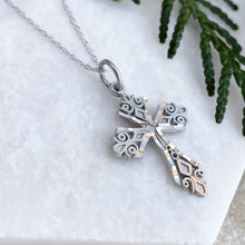 Load image into Gallery viewer, 10KT White Gold Diamond-Cut Detailed Cross Pendant Necklace, 10KT White Gold Diamond-Cut Detailed Cross Pendant Necklace - Legacy Saint Jewelry